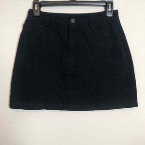 F21 Black Jean Mini Skirt